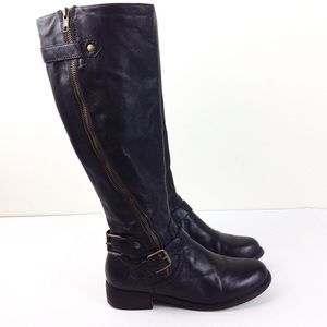 Steve Madden Synicle Black Leather Moto Boots